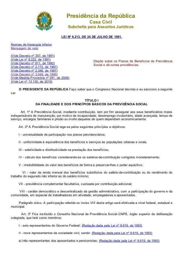 20/07/2015 L8213compilado http://www.planalto.gov.br/ccivil_03/leis/L8213compilado.htm 1/37 PresidênciadaRepública Casa...