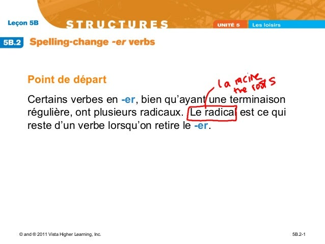 Point de départ   Certains verbes en -er, bien qu'ayant une terminaison   régulière, ont plusieurs radicaux. Le radical es...