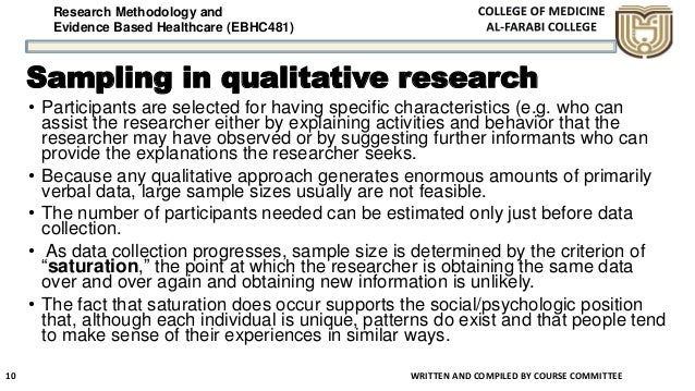 Research Methodology and Evidence Based Healthcare (EBHC481) Sampling in qualitative research WRITTEN AND COMPILED BY COUR...