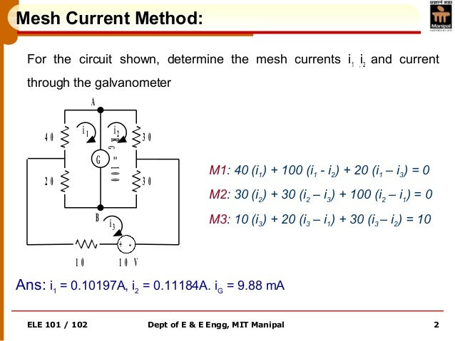 ELE 101 / 102 Dept of E & E Engg, MIT Manipal 2 Mesh Current Method: For the circuit shown, determine the mesh currents i1...
