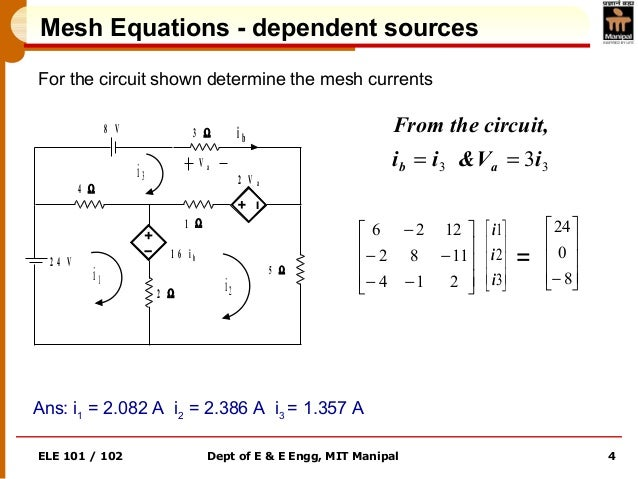 ELE 101 / 102 Dept of E & E Engg, MIT Manipal 4 Mesh Equations - dependent sources For the circuit shown determine the mes...
