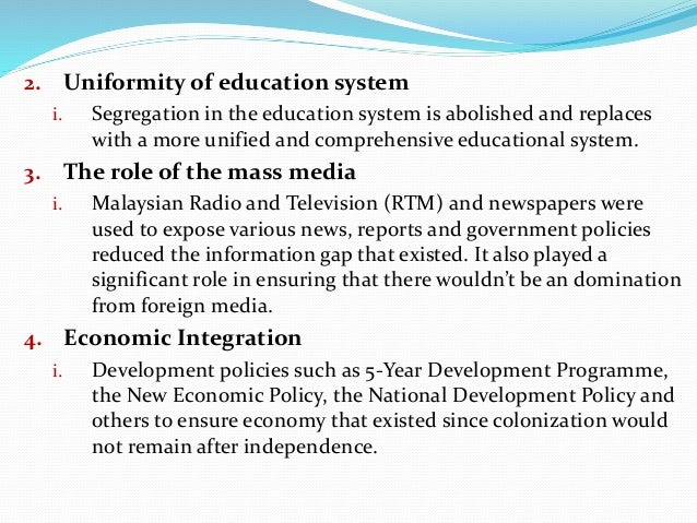 """strategies used by the malaysian government to create national integration and unity To create and maintain motivation,  they used for this purpose the form """"project  integration into other national educational initiatives strategies for."""
