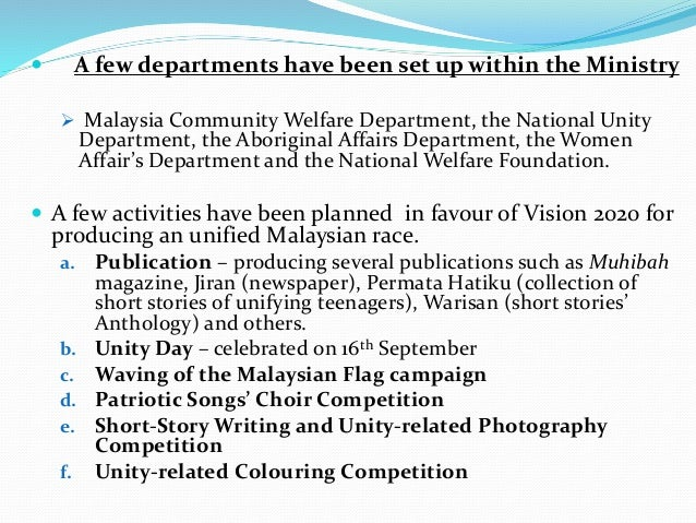 national unity and integration in malaysia Question 6 give your views on how to create unity and national integration in a multi-racial society like malaysia malaysia is a multi racial country,.