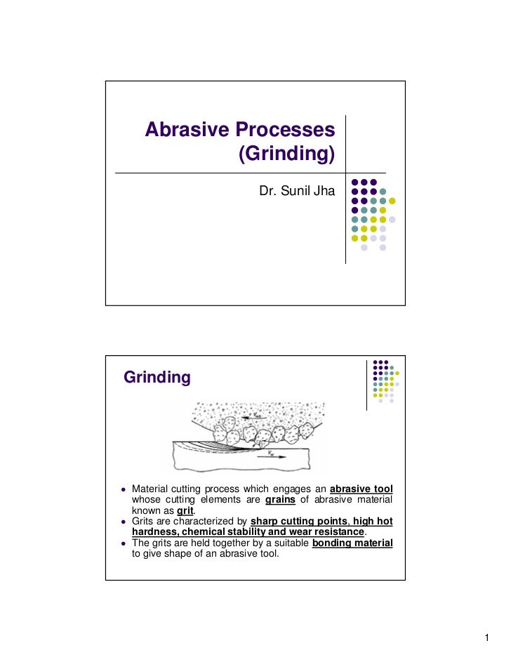 Abrasive Processes            (Grinding)                             Dr. Sunil JhaGrinding Material cutting process which ...