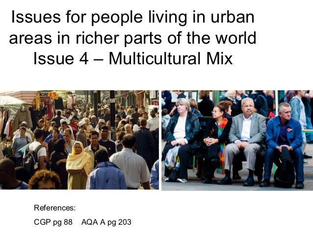 Issues for people living in urban areas in richer parts of the world Issue 4 – Multicultural Mix References: CGP pg 88 AQA...