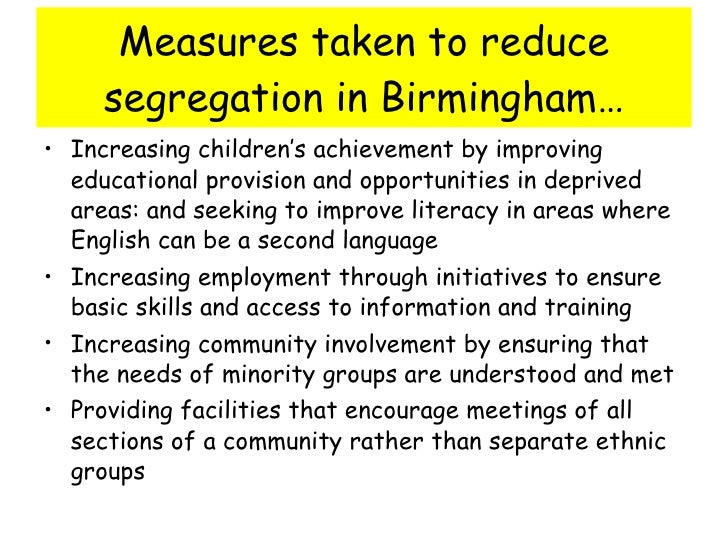 the extent of segregation in urban areas Is segregation on the increase in the uk  white majority from minorities in urban zones further, the extent and pace of this change, within some communities, is very evident  growth from.