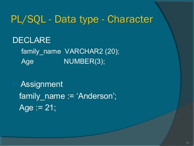 Declare variables function oracle