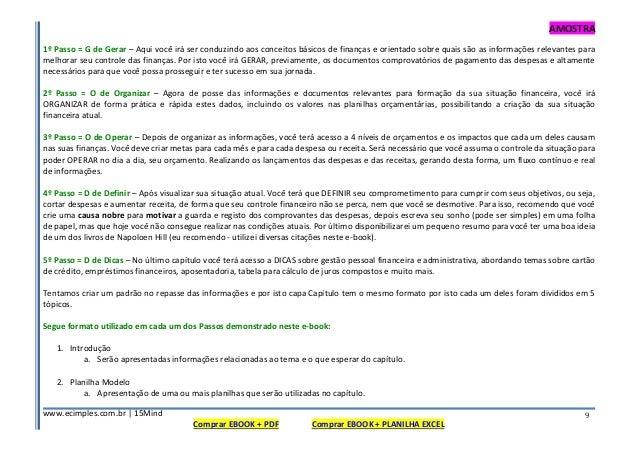 AMOSTRA www.ecimples.com.br   15Mind Comprar EBOOK + PDF Comprar EBOOK + PLANILHA EXCEL 9 1º Passo = G de Gerar – Aqui voc...