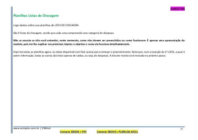 AMOSTRA www.ecimples.com.br   15Mind Comprar EBOOK + PDF Comprar EBOOK + PLANILHA EXCEL 17 Planilhas Listas de Checagem Lo...