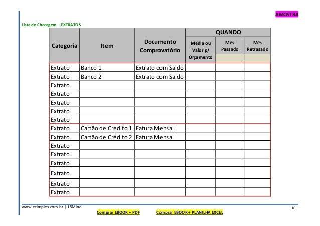 AMOSTRA www.ecimples.com.br   15Mind Comprar EBOOK + PDF Comprar EBOOK + PLANILHA EXCEL 18 Lista de Checagem – EXTRATOS Mê...