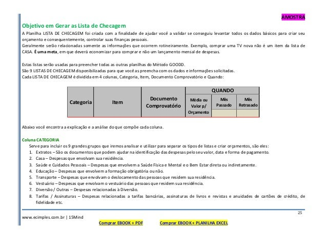 AMOSTRA www.ecimples.com.br   15Mind Comprar EBOOK + PDF Comprar EBOOK + PLANILHA EXCEL 25 Objetivo em Gerar as Lista de C...