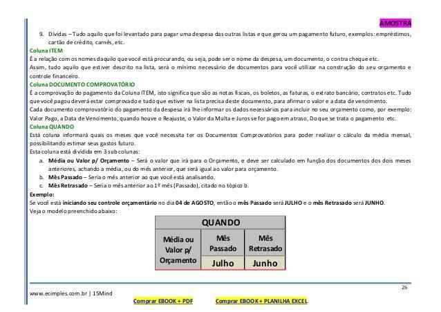 AMOSTRA www.ecimples.com.br   15Mind Comprar EBOOK + PDF Comprar EBOOK + PLANILHA EXCEL 26 9. Dívidas – Tudo aquilo que fo...