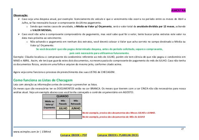 AMOSTRA www.ecimples.com.br   15Mind Comprar EBOOK + PDF Comprar EBOOK + PLANILHA EXCEL 27 Observação: Caso seja uma despe...