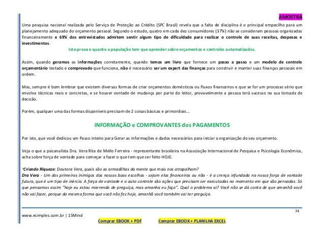 AMOSTRA www.ecimples.com.br   15Mind Comprar EBOOK + PDF Comprar EBOOK + PLANILHA EXCEL 34 Uma pesquisa nacional realizada...
