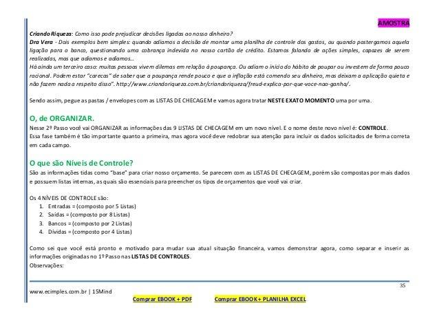 AMOSTRA www.ecimples.com.br   15Mind Comprar EBOOK + PDF Comprar EBOOK + PLANILHA EXCEL 35 Criando Riqueza: Como isso pode...