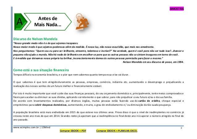 """AMOSTRA www.ecimples.com.br   15Mind Comprar EBOOK + PDF Comprar EBOOK + PLANILHA EXCEL 3 Discurso de Nelson Mandela """"Noss..."""