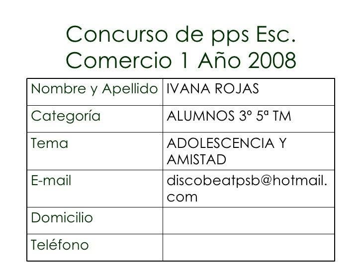 Concurso de pps Esc. Comercio 1 Año 2008 Teléfono Domicilio [email_address] E-mail ADOLESCENCIA Y AMISTAD Tema ALUMNOS 3º ...