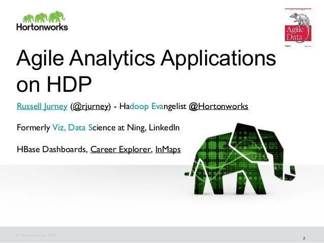 Agile Analytics Applicationson HDPRussell Jurney (@rjurney) - Hadoop Evangelist @HortonworksFormerly Viz, Data Science at ...