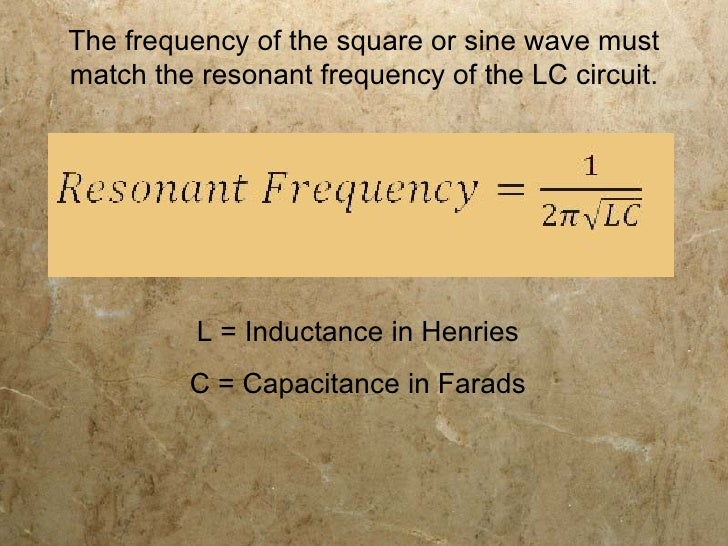 Frequency Through An Inductor L And Capacitor C Tank Circuit