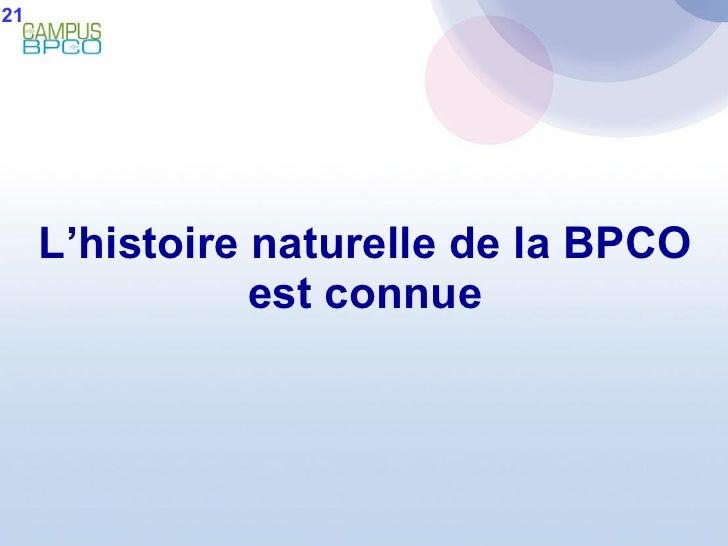 L'histoire naturelle de la BPCO est connue 21