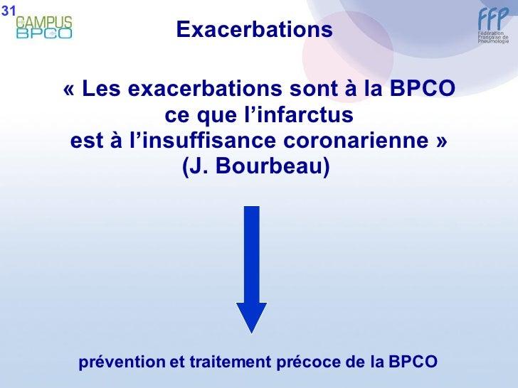 «Les exacerbations sont à la BPCO ce que l'infarctus est à l'insuffisance coronarienne» (J. Bourbeau)  prévention et tra...
