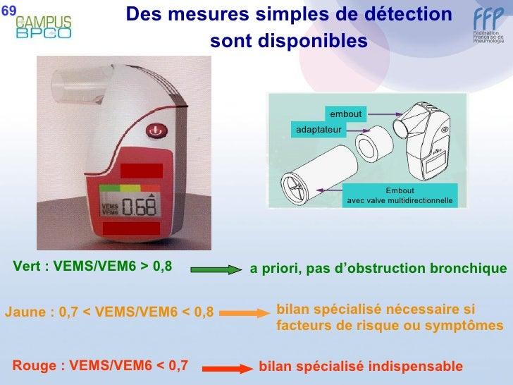 Des mesures simples de détection sont disponibles Vert : VEMS/VEM6 > 0,8 Jaune : 0,7 < VEMS/VEM6 < 0,8 Rouge : VEMS/VEM6 <...