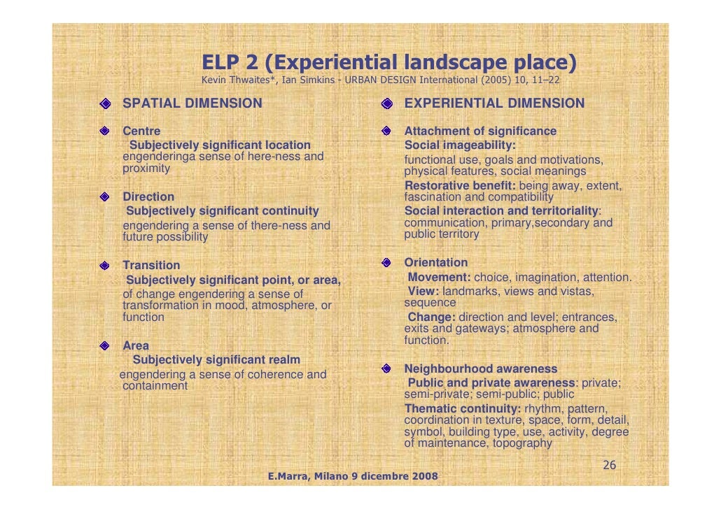 ELP 2 (Experiential landscape place)               Kevin Thwaites*, Ian Simkins - URBAN DESIGN International (2005) 10, 11...