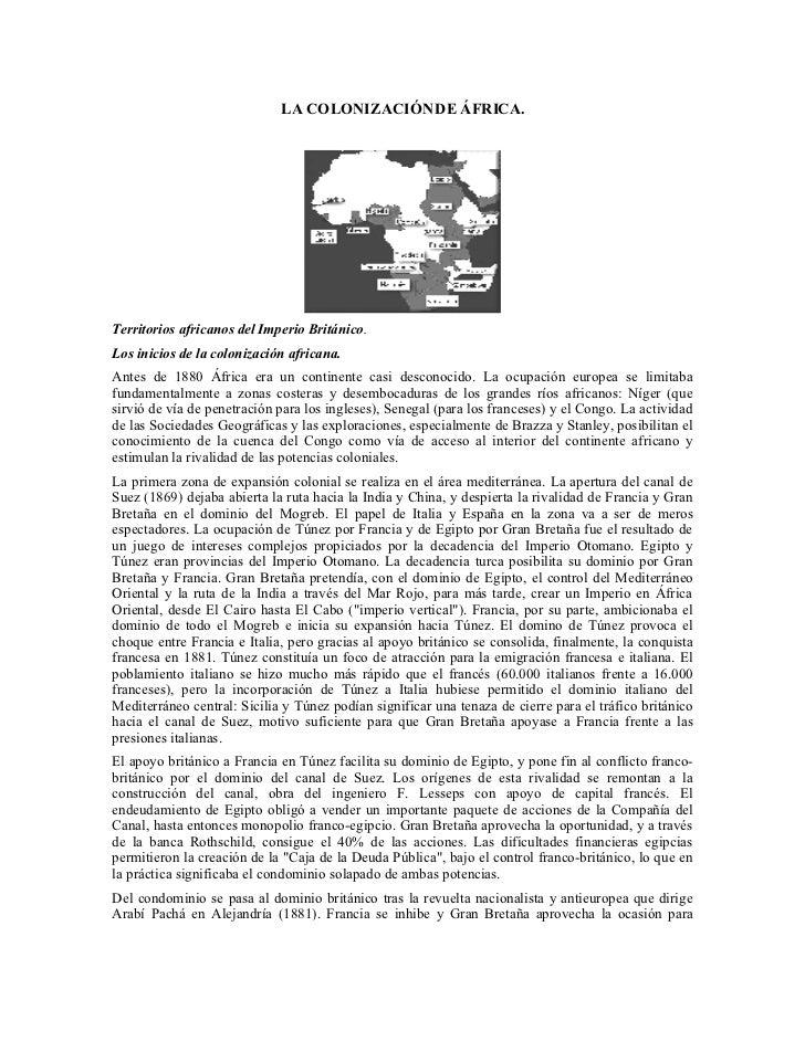 LA COLONIZACIÓN DE ÁFRICA.     Territorios africanos del Imperio Británico. Los inicios de la colonización africana. Antes...
