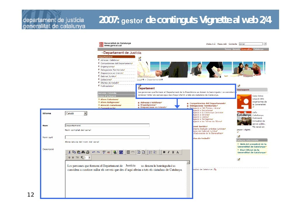 2007: gestor de continguts Vignette al web 2/4                 Justícia     12