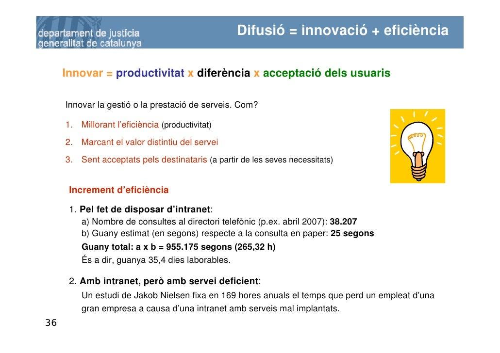 Difusió = innovació + eficiència       Innovar = productivitat x diferència x acceptació dels usuaris       Innovar la ges...