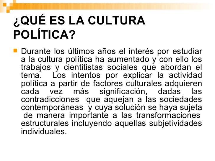 La construcción de la cultura política
