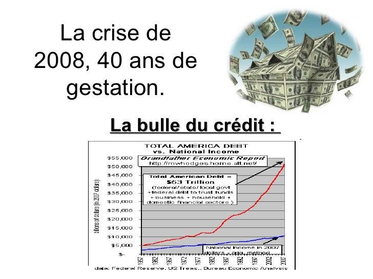 La crise de 2008, 40 ans de gestation. La bulle du crédit :