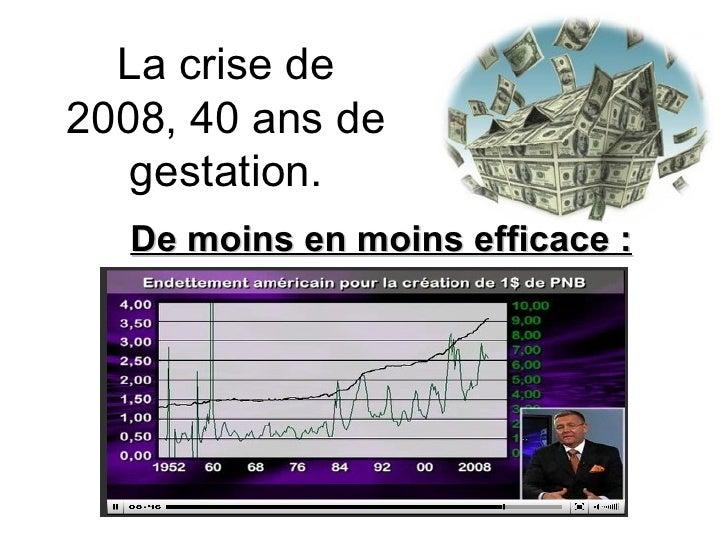 La crise de 2008, 40 ans de gestation. De moins en moins efficace :