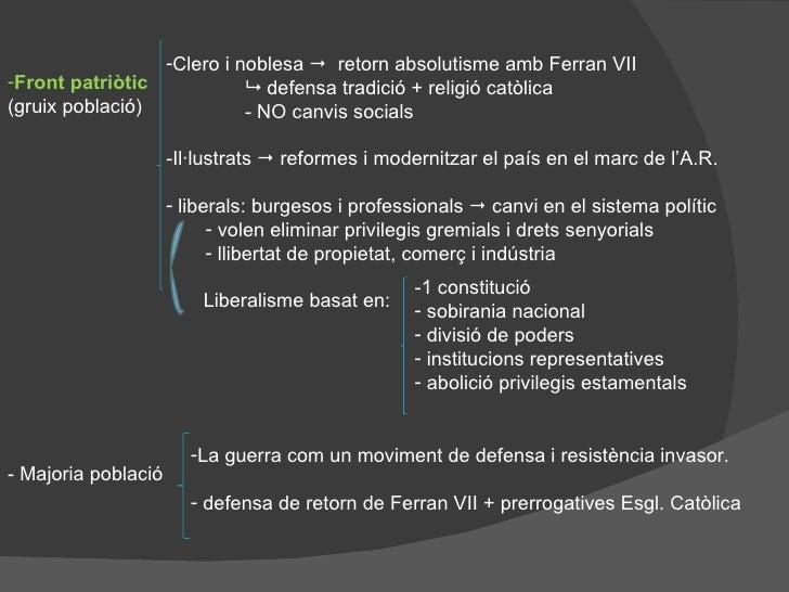 <ul><li>Front patriòtic  </li></ul><ul><li>(gruix població) </li></ul><ul><li>Clero i noblesa     retorn absolutisme amb ...