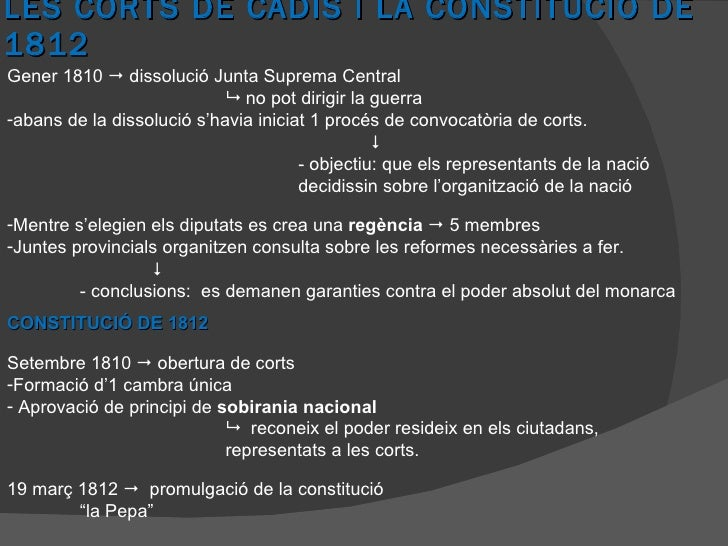 LES CORTS DE CADIS I LA CONSTITUCIÓ DE 1812 <ul><li>Gener 1810    dissolució Junta Suprema Central </li></ul><ul><li>   ...