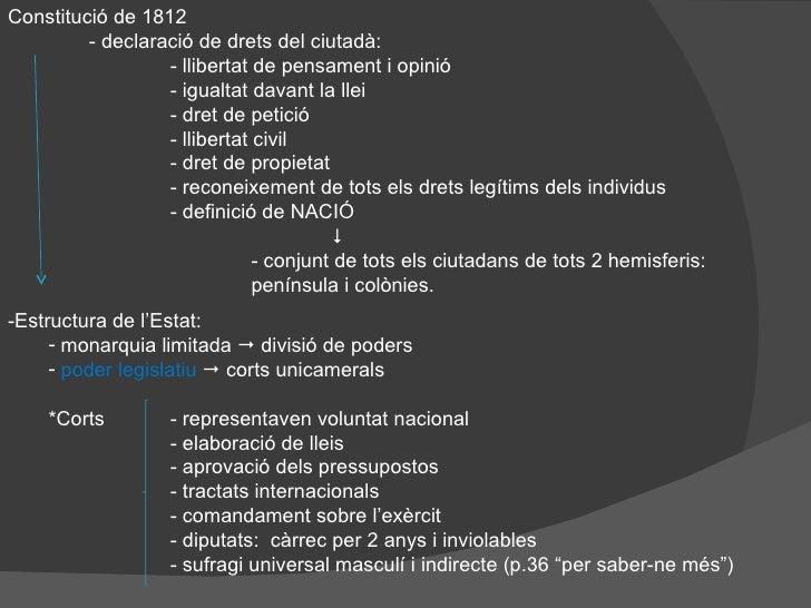 Constitució de 1812 - declaració de drets del ciutadà: - llibertat de pensament i opinió - igualtat davant la llei - dret ...