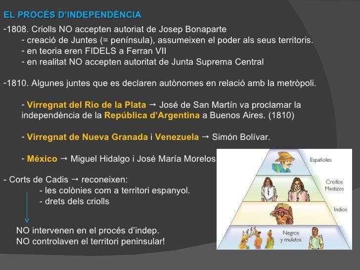 EL PROCÉS D'INDEPENDÈNCIA <ul><li>1808. Criolls NO accepten autoriat de Josep Bonaparte </li></ul><ul><ul><li>creació de J...