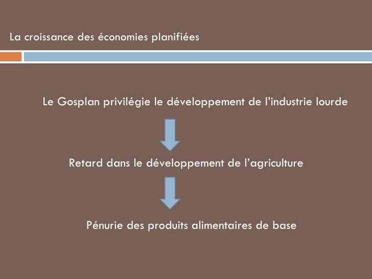 La croissance des économies planifiées <ul><ul><li>Le Gosplan privilégie le développement de l'industrie lourde </li></ul>...
