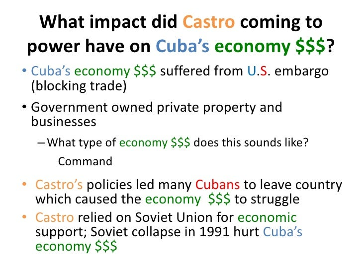 Revolution of cuba and its effect
