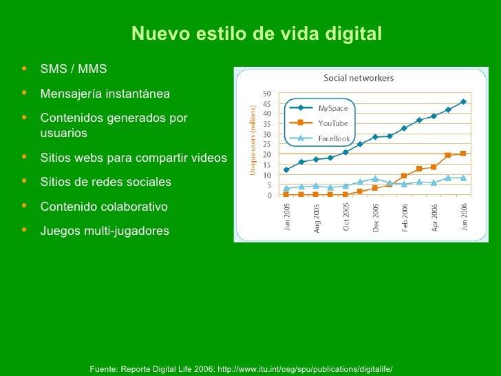 Nuevo estilo de vida digital <ul><li>SMS / MMS </li></ul><ul><li>Mensajería instantánea </li></ul><ul><li>Contenidos gener...
