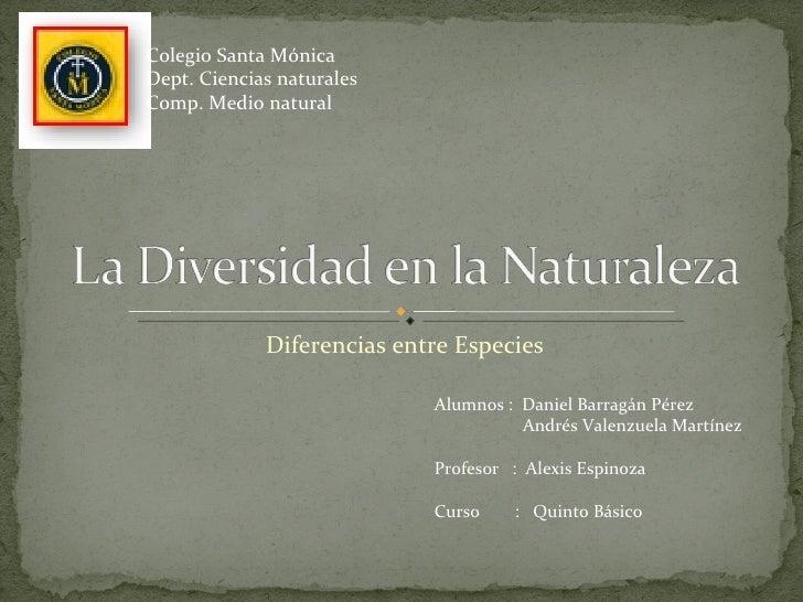 Diferencias entre Especies Colegio Santa Mónica Dept. Ciencias naturales Comp. Medio natural Alumnos :  Daniel Barragán Pé...