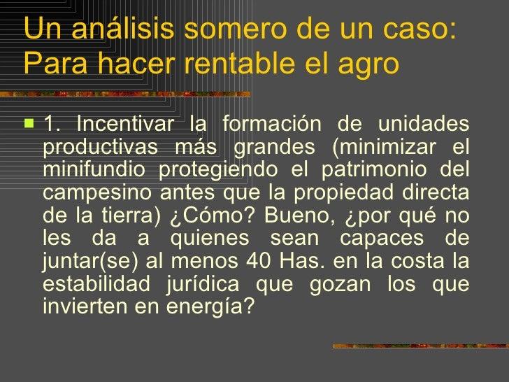 Un análisis somero de un caso: Para hacer rentable el agro <ul><li>1.   Incentivar la formación de unidades productivas má...