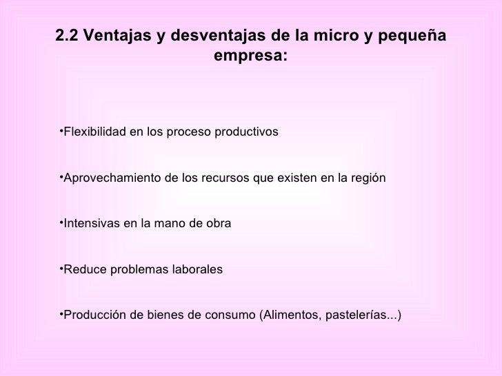 2.2 Ventajas y desventajas de la micro y pequeña empresa: <ul><li>Flexibilidad en los proceso productivos </li></ul><ul><l...