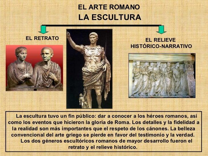 EL ARTE ROMANO LA ESCULTURA EL RETRATO EL RELIEVE  HISTÓRICO-NARRATIVO La escultura tuvo un fin público: dar a conocer a l...