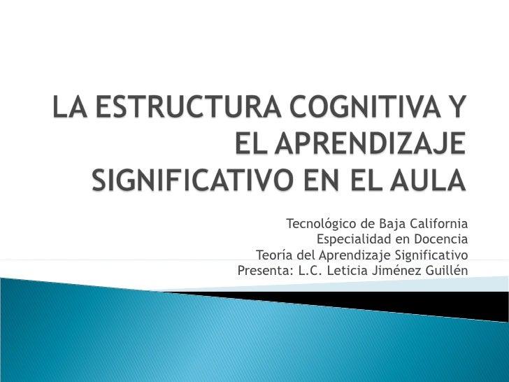 Tecnológico de Baja California Especialidad en Docencia Teoría del Aprendizaje Significativo Presenta: L.C. Leticia Jiméne...