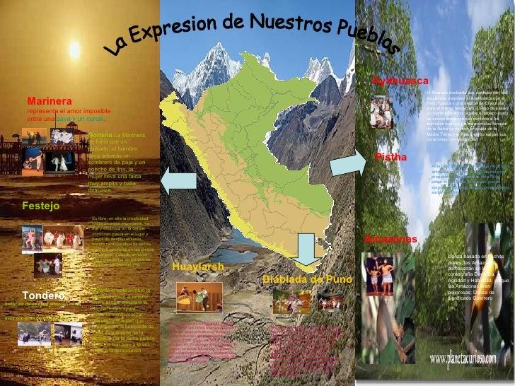 La Expresion de Nuestros Pueblos Marinera  representa el amor imposible entre una  pava y un corcel .   Norteña : La   Mar...