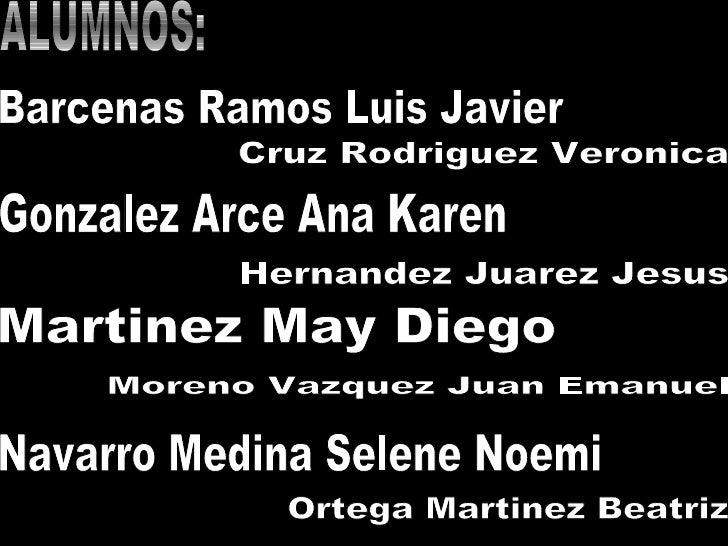ALUMNOS: Barcenas Ramos Luis Javier Cruz Rodriguez Veronica Gonzalez Arce Ana Karen Hernandez Juarez Jesus Martinez May Di...