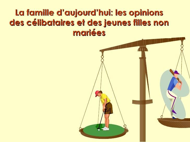 La famille d'aujourd'hui: les opinions des célibataires et des jeunes filles non                 mariées