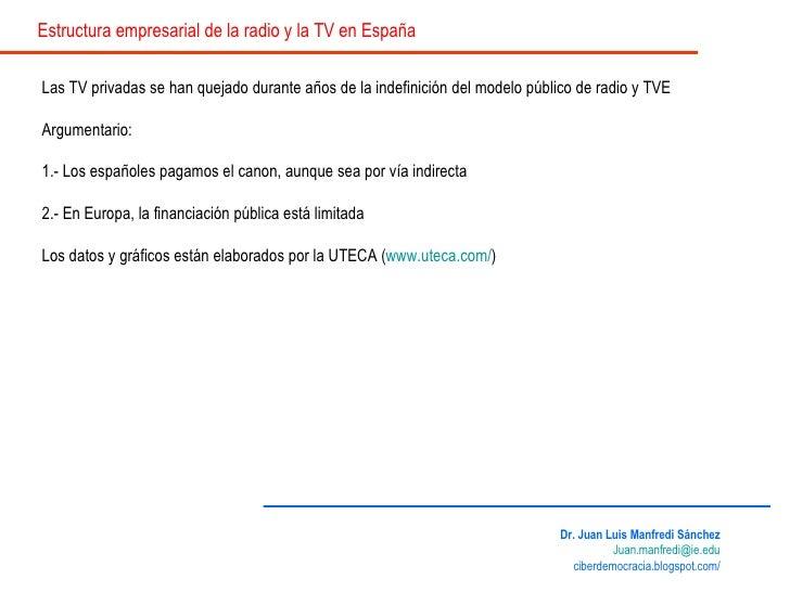Las TV privadas se han quejado durante años de la indefinición del modelo público de radio y TVE Argumentario: 1.- Los esp...