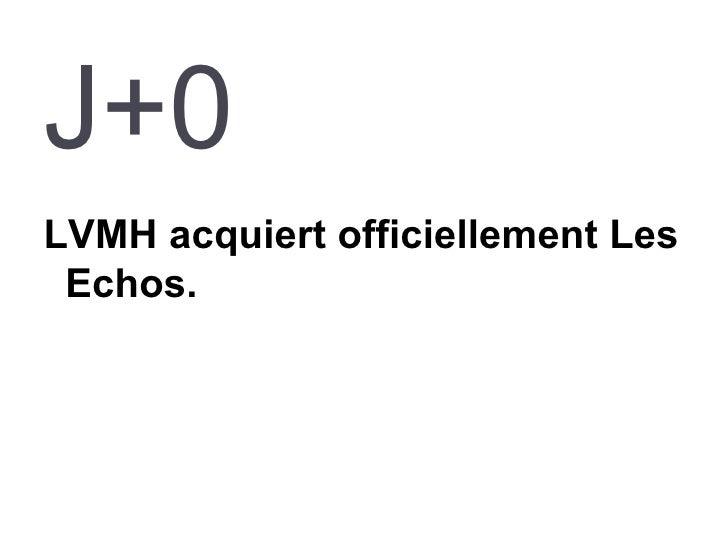 J+0 <ul><li>LVMH acquiert officiellement Les Echos. </li></ul>